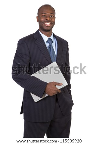 Young Black Male Holding Laptop Isolated on White Background