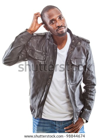 Young black man amzaed - over white background
