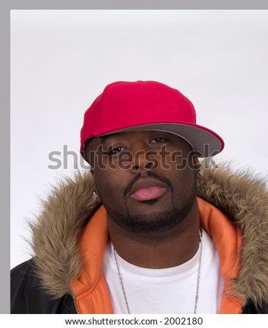 Young Black Man in Ball Cap and Jacket