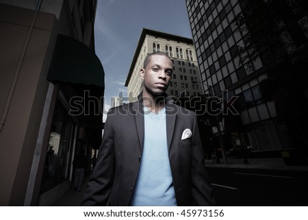 Young Black man in the city
