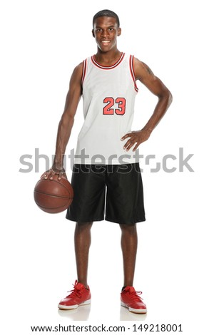 Young Black Man with basketball isolate on a white background