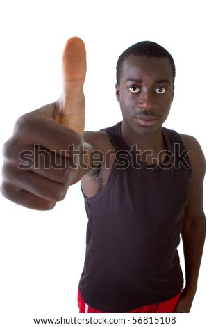 Young black teenager is  posing with a thumbs up sign. Isolated over white.
