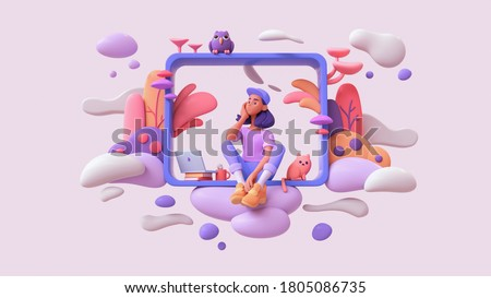 Young black thinking girl sitting on the windowsill floating in the clouds with laptop, cat, an owl, colorful plants. Woman in purple t-shirt, blue jeans, orange sneakers, white socks, cap. 3d render.