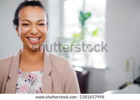 Young black woman face close-up