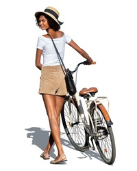 Young black woman walking with a white city bike and looking back over her shoulder isolated on white background