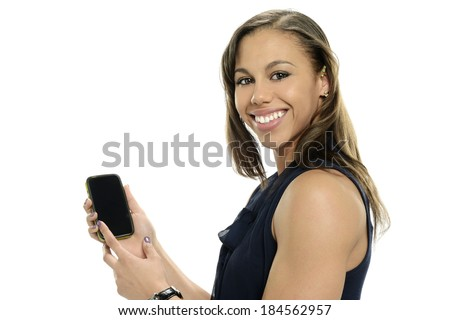 Young black woman with cell phone isolated on a white background