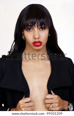 Young Black Woman With Open Jacket Bare Skin