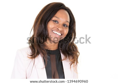 young black woman with pretty smile, model of fashion  #1394690960
