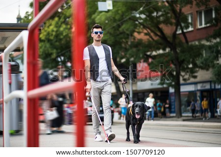 Young blind man with white cane and guide dog walking on pavement in city. #1507709120