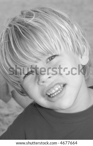 Young Blond Boy at the Beach Black and White