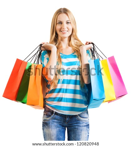 Young blond smiling woman after shopping