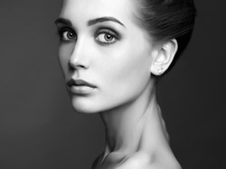 Young blond woman.Beautiful blonde Girl.close-up fashion black and white portrait