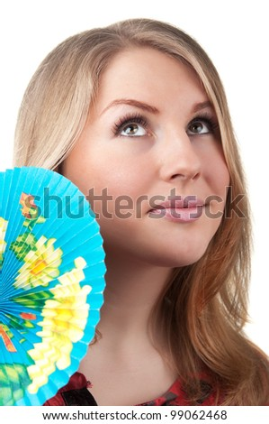 young blond woman portrait with fan isolated on a white background