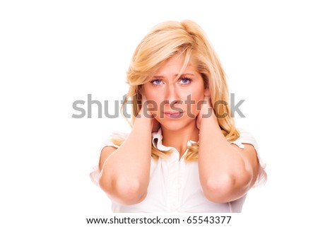 Young blond woman with neck pain