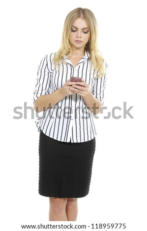 young blonde business woman using smart phone.