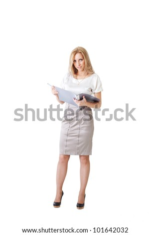 Young blonde businesswoman with a folder and a pen