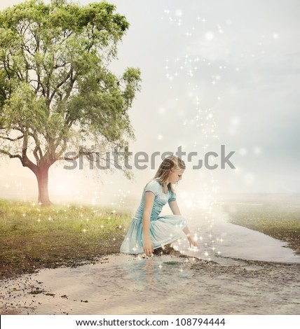 Young Blonde Girl at a Magical Brook