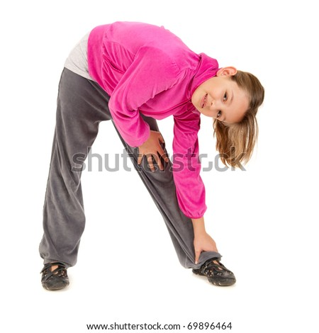 young blonde girl stretching studio isolated on white background