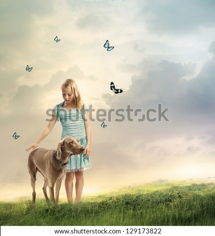 Young Blonde Girl with her Dog on a Magical Mountain