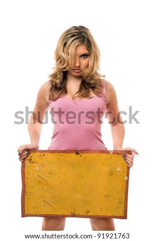 Young blonde posing with yellow vintage board