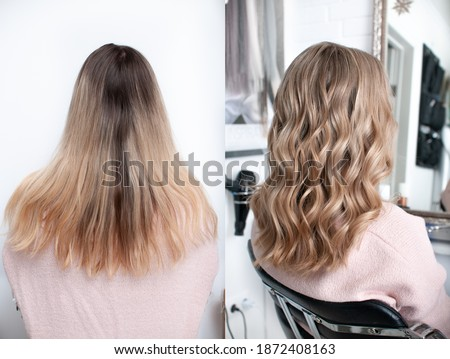 Young blonde woman before and after visiting a beauty salon with hair coloring and cutting Foto stock ©