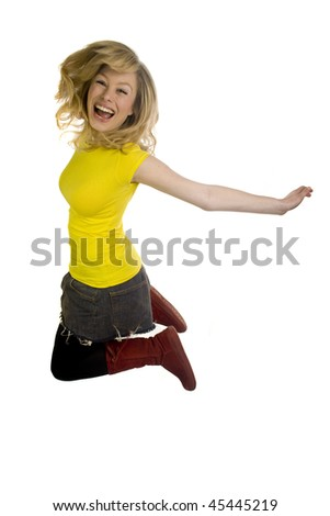 Young Blonde Woman Jumping