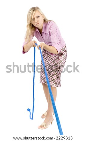 young blonde woman pulling rope on the white background