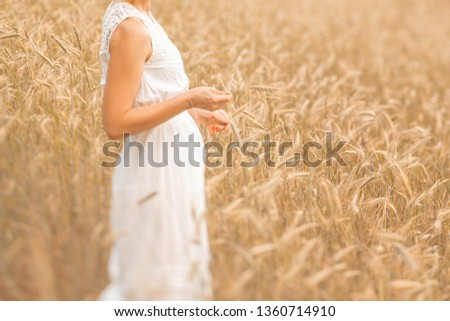 Young blonde woman standing on golden wheat field and touching wheat ears at sunny day. Enjoying nature. Beautiful girl in the rays of sunlight. Sunlight. #1360714910