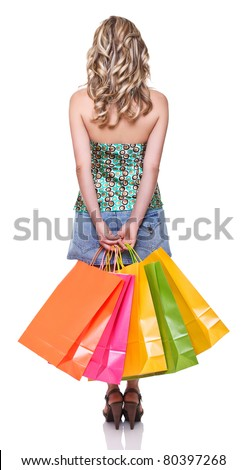 young blonde woman with shopping bag