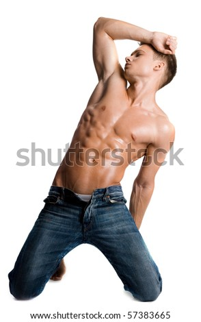 young bodybuilder man on white background