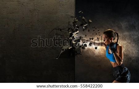 Young boxer woman . Mixed media . Mixed media
