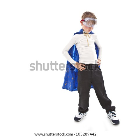 Young boy as a super hero a white background - stock photo