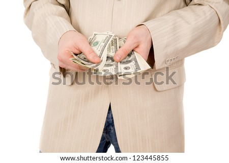 young boy believes the money isolated on white background
