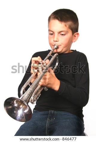 Young Boy Blowing Trumpet