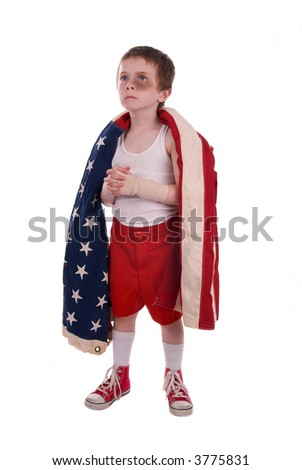 young boy boxer preparing for a fight wrapped in the american flag