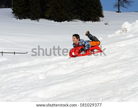 young boy comes down with the red sled in the mountains on the white snow