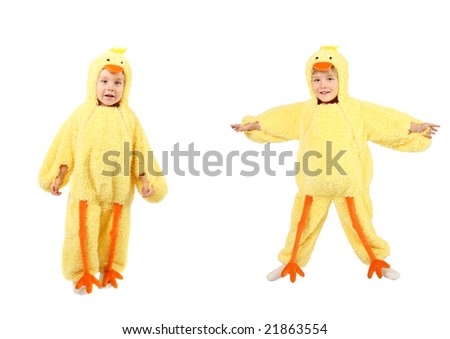 Young boy dressed up as a baby chick