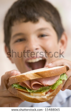 Young boy eating sandwich smiling