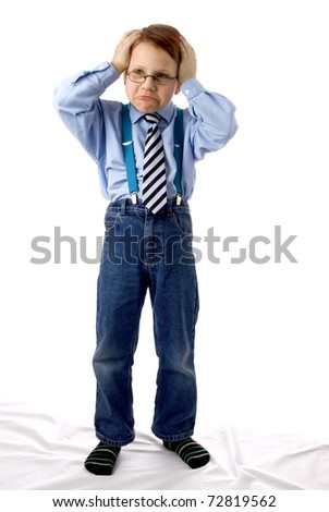 Young boy gesturing
