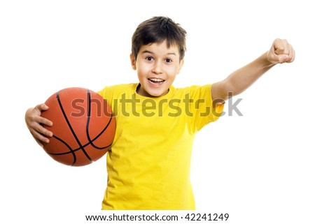 Young boy holding a Basketball - isolated