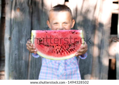 young boy holds a large piece of watermelon against a wooden rural wall, a little schoolboy offers a fresh watermelon on a sunny summer day, free space #1494328502