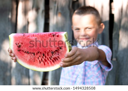 young boy holds a large piece of watermelon against a wooden rural wall, a little schoolboy offers a fresh watermelon on a sunny summer day, free space #1494328508