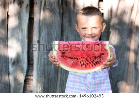 young boy holds a large piece of watermelon against a wooden rural wall, a little schoolboy offers a fresh watermelon on a sunny summer day, free space #1496102495