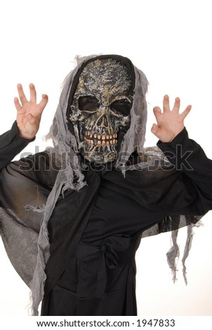 Young boy in a ghoul halloween costume