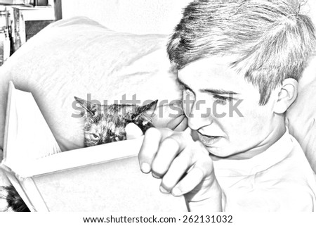 Young boy in bed reading a book with his cat. Cat looks unhappy or annoyed. Sketch image black and white.