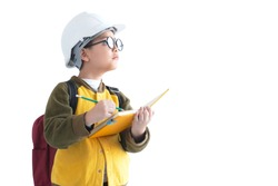Young boy in white safety helmet pretend to be engineering on white background, with clipping path