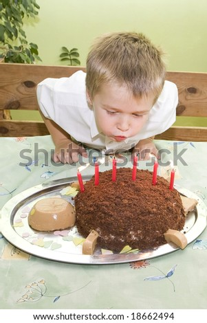 Young boy is blowing birthday candles