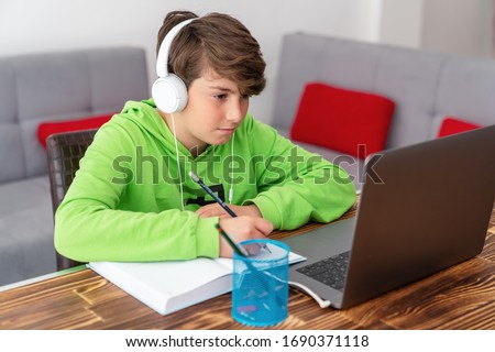 Young boy is studying in front of the laptop. E learning, study at home online. Stockfoto ©