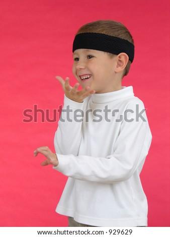 Young boy Karate chop