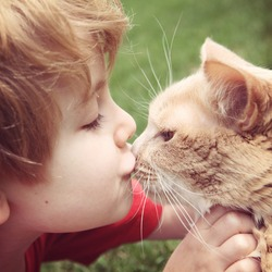 Young boy kissing his cat